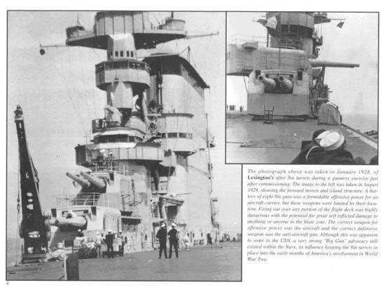 Bốn khẩu súng 8 in đặt trong hai tháp pháo của chiếc Lexington, thật không hiểu được cần mấy khẩu súng này làm gì vì nếu tầu đối tầu thì đã có tầu chiến hộ vệ và những khẩu súng này cũng chẳng có tác dụng phòng không