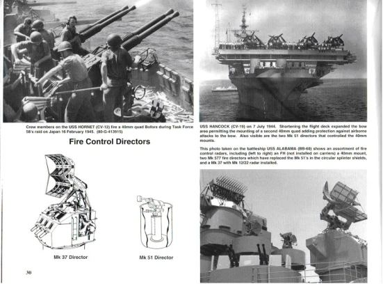 Ảnh trên góc bên trái: các khẩu đội súng phòng không Bofors 40 mm trên chiếc USS Hornet đang nổ súng trong trận đánh của lực lượng đặc nhiệm 58 với quân Nhật ngày 16 tháng 2 năm 1945 Ảnh trên góc bên phải: chụp từ sàn bay phía mũi của chiếc USS Handcock ngày 7/7/1944 cho thấy những khẩu đội súng phòng không 40 mm để bảo vệ mũi của con tầu khỏi những đợt không kích của đối phương. trong ảnh còn thể hiện hai thiết bị Mk51 dùng để điều khiển bắn các khẩu 40 mm Ảnh dưới góc phải: chụp từ chiếc USS Alabama, các thiết bị dẫn bắn bao gồm 01 FH và 02 Mk 557 dùng để thay thế cho Mk 51 Ảnh dưới bên trái: Hình vẽ thiết bị dẫn bắn Mk 37 và Mk 51 của các súng phòng không 40 mm
