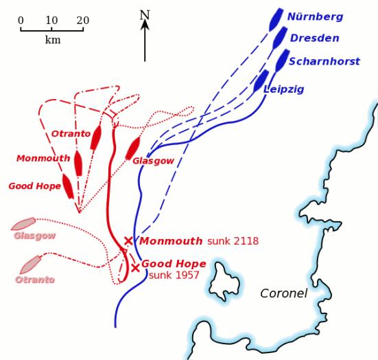 Bản đồ có mầu về sự di chuyển của các tầu chiến trong trận hải chiến Coronel. Tàu Anh được thể hiện bằng màu đỏ, tàu Đức được thể hiện bằng màu xanh lam.