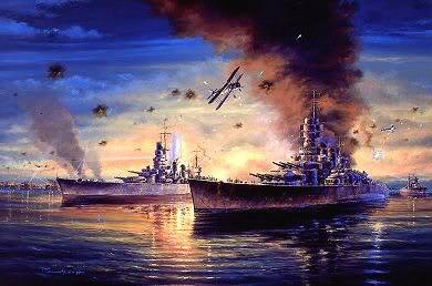 Tranh vẽ những chiếc máy bay Fairey Swordfish lao vào tấn công hạm đội Ý ở tầm cao rất thấp, đây là một chiến thuật hoàn toàn mới
