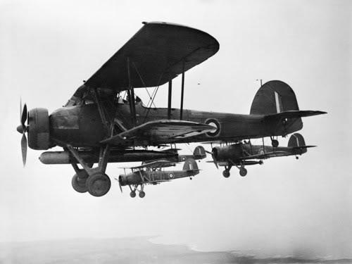 Ảnh chụp những chiếc máy bay Fairey Swordfish mang ngư lôi của RN xuất trận, trên là Swordfish là cá Kiếm nhưng chúng trông giống những chú chuồn chuồn hơn.