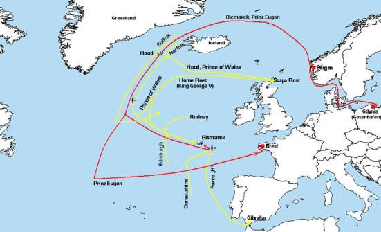 Bản đồ quy hoạch đầy đủ quá trình của trận chiến eo biển Đan Mạch, và trận truy lùng Bismarck ( sẽ được đăng ở phần sau), chú ý hướng di chuyển của các tầu Đức được tô mầu đỏ, còn hướng di chuyển của các tầu Anh được tô mầu vàng