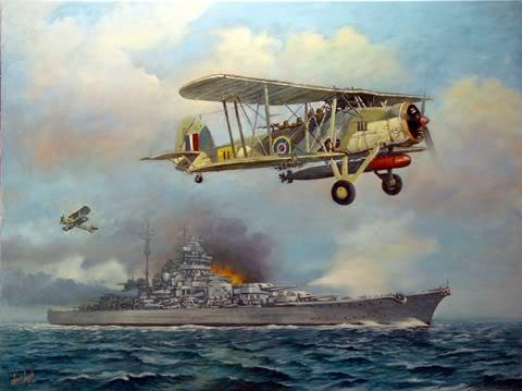 Tranh vẽ đợt tấn công những chiếc Swordfish xuất phát từ chiếc TSB HMS Ark Royal đã làm hỏng chiếc bánh lái của chiếc Bismarck và làm nó không thể chạy thoát