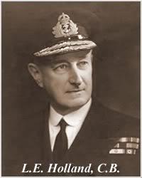 Ảnh Phó Đô đốc Lancelot Holland người đã tử trận cùng chiếc Tuần dương hạm thiết giáp Hood - niềm tự hào của nước Anh, và là nguyên nhân chính dẫn đến sự trả thù khốc liệt vào chiếc Bismarck