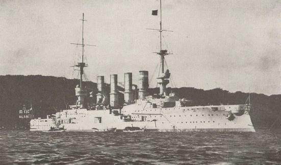 Ảnh chiếc tuần dương hạm hạng nhẹ SMS Leipzig trong hải đội của von Spee