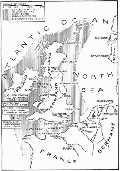 """Khu vực bóng mờ cho thấy """"khu vực chiến sự"""" được người Đức công bố vào ngày 4 Tháng 2 năm 1915"""