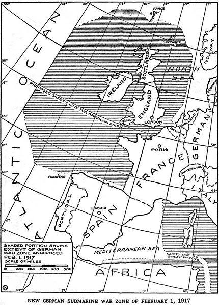 khu vực bóng mờ cho thấy khu vực tàu ngầm hoạt động không hạn chế được công bố bởi người Đức vào ngày 01 tháng hai năm 1917
