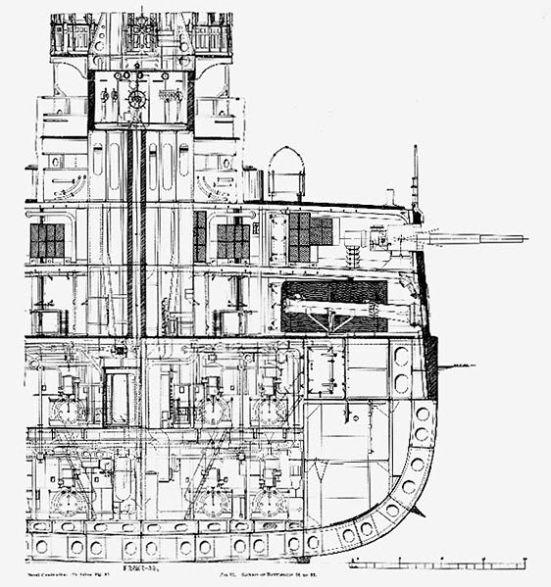 Mặt cắt ngang ở phần giữa thân tầu của chiếc thiết giáp hạm USS Kearsarge