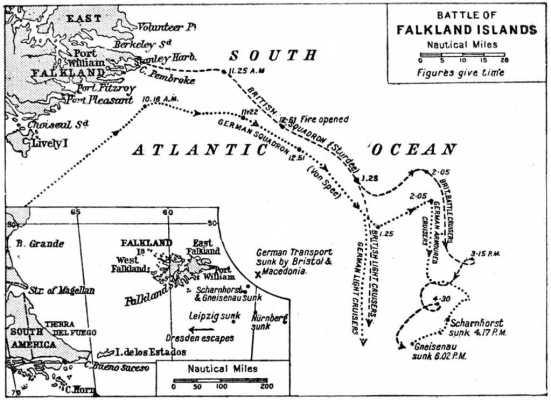 Bản đồ diễn biến trận chiến Quần đảo Falkland