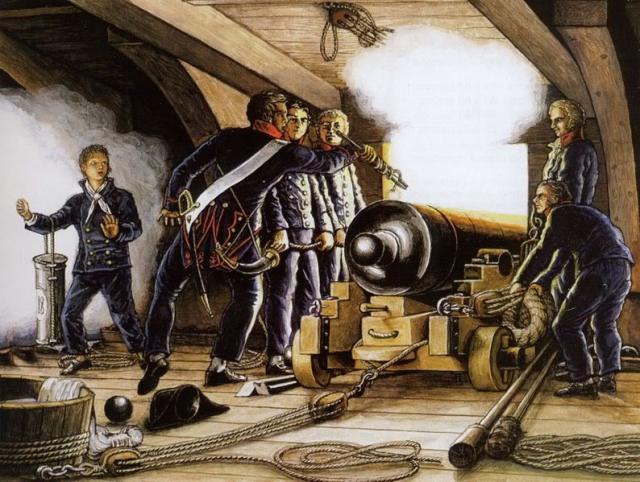 Một khẩu đội pháo hải quân của Pháp đang chuẩn bị phát hỏa, chú ý tay khẩu đội trưởng đang cầm chiếc linstock để điểm hỏa, chếch ở bên trái là cậu bé thuốc súng