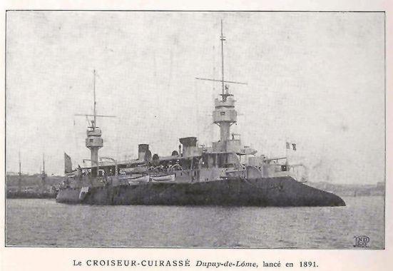 Chiếc tuần dương hạm bọc thép Dupuy de Lome của Hải quân Pháp, nó có trọng tải 6.700 tấn, tốc độ 19,7 hải lý/ giờ, giáp vành đai dày 3,9 in, giáp sàn dày 0,79 in, vũ khí chính bao gồm 2 súng xấp xỉ 8 in và 6 súng xấp xỉ 6 in cùng hai ống phóng ngư lôi