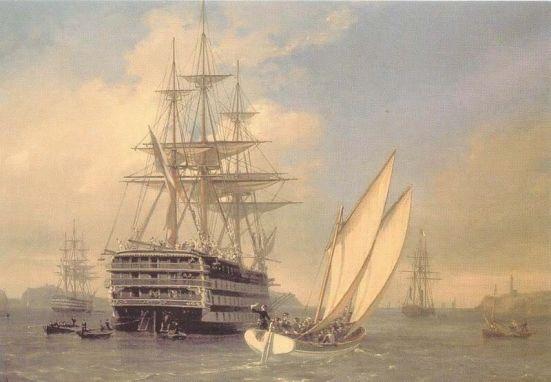 Tranh vẽ chiếc Valmy của Hải quân Pháp