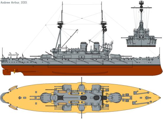 Chiếc HMS Agamemnon, Một ví dụ về áp dung thiết kế trung gian về các khẩu đội pháo của nó với tám súng 9,2-inch và bốn súng 12 inch trong sáu tháp pháo ơ giữa con tầu.