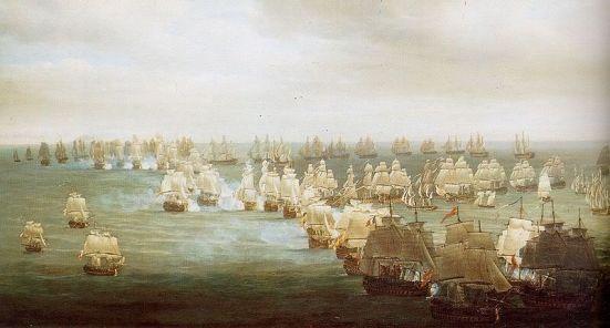 Tranh vẽ trận Trafalgar lúc 13h - các cột tầu Anh đang lao vào đội hình tầu Pháp