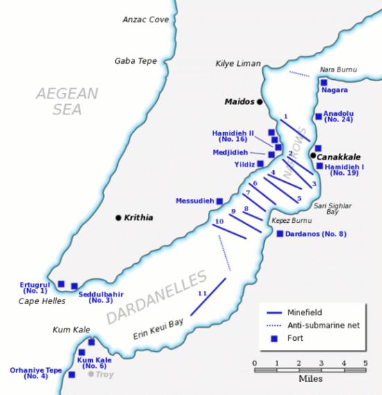 Hệ thống phòng thủ Dardanelles trong tháng hai - ba, 1915 hiển thị bãi mìn, lưới chống tàu ngầm và các khẩu đội súng lớn.