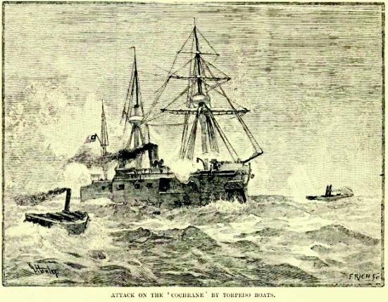 Tàu phóng ngư lôi tấn công vào pháo hạm của Chile, chiếc Cochrane trong Nội chiến Chile năm 1891.