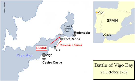 Bản đồ trận hải chiến vịnh Vigo