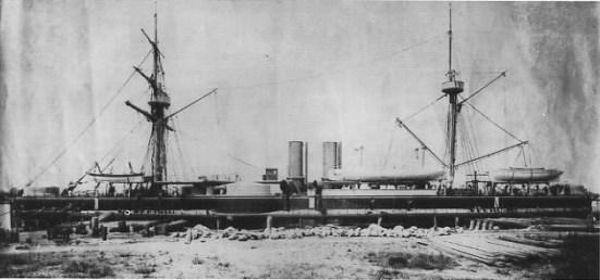 Ảnh chụp chiếc thiết giáp hạm Định viễn - Kỳ hạm của Hạm đội Bắc Dương