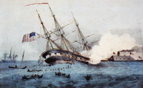 Một bức tranh vẽ cuộc cảnh chiếc Monitor hạ gục chiếc USS Cumberland