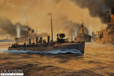 Các tầu khu trục của Nhật Bản được tung ra để tấn công hạm đội Nga ở trận đánh đêm