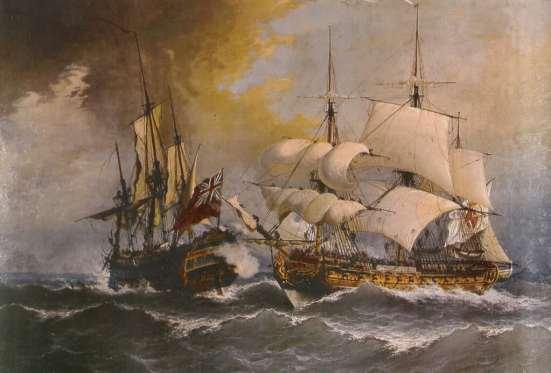 Tầu của hải quân Anh đang tấn công tầu Tây Ban Nha