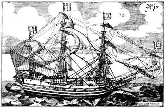 Tranh vẽ một chiếc tầu Galeass - không rõ cờ nước nào vì không có mầu