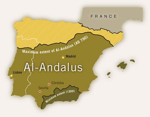 Al-Andalus, tức đất của người Hồi giáo ở Iberia.