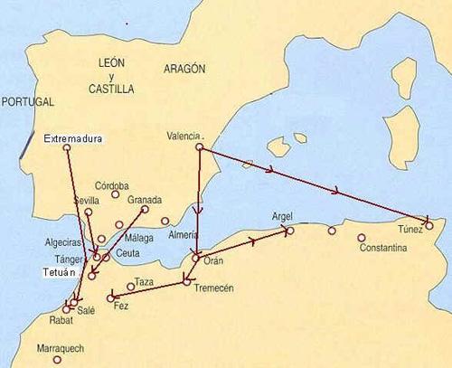 Đường đi của những người Morisco bị đuổi đến Bắc Phi.