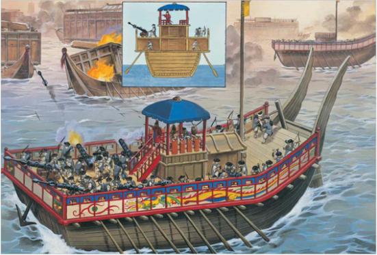 Minh họa về tầu chiến lớp panokseon của Triều Tiên