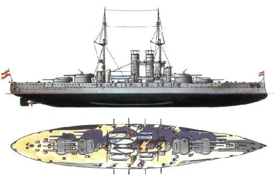 """Thiết giáp hạm lớp Tegetthoff (SMS Szent István (1914)) với hai tầng """"ba tháp súng""""Với bố trí này con tàu có thể duy trì toàn bộ hỏa lực chính của mình vào một tàu của đối phương."""