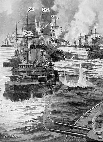 Hạm đội Nga trong đội hình hành tiến phải hứng chịu đạn của Nhật Bản