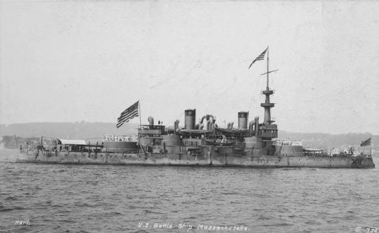 Chiếc USS Massachusetts, một thiết giáp hạm tiền Dreadnought được ra mắt vào năm 1893.
