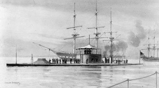 Một bức tranh vẽ chiếc Thiết giáp hạm USS Monitor