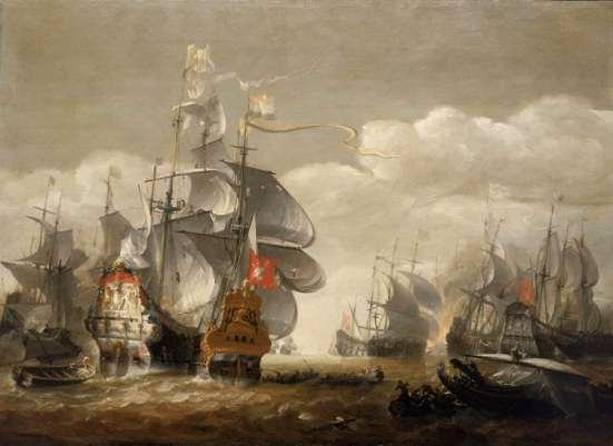 Một bức tranh về một góc của trận hải chiến Lowestoft