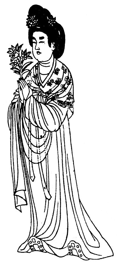 Phụ nữ Trung Nguyên đời Đường trong trang phục thuần túy Hán Tộc, tay cầm hoa Mẫu Đơn.