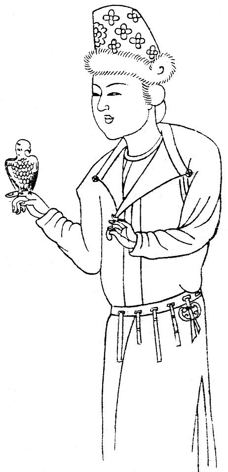 Thiếu nữ Trung Nguyên đời Đường trong trang phục người Hồ, tay cầm chim Anh Vũ.