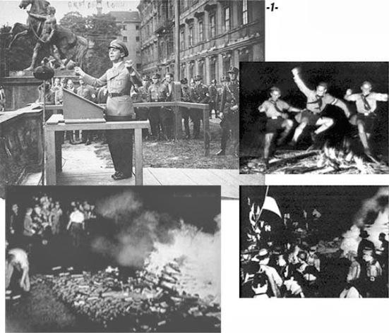 Bên trên, góc trái là bộ trưởng tuyên truyền Đức Quốc Xã Joseph Goebbels. Ba hình còn lại là cảnh thiếu nhi khăn quàng đen của đảng Đức Quốc Xã đang các đốt sách không phù hợp luận điệu tuyên truyền của đảng