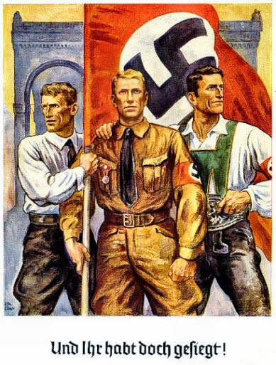 Đội xung phong này là Đoàn Thanh Niên Áo Nâu, tiếng Đức là Sturmabteilung, nghĩa là Đội Quân Vũ Bão. Đoàn Thanh Niên Áo Nâu hoạt động mạnh vào thời kỳ từ 1921 đến 1933, lúc đảng Đức Quốc Xã đang phát triển. Đoàn thanh niên này bảo vệ các buổi mít tinh, họp hành của đảng Đức Quốc Xã khi bị các đảng dùng vũ lực tấn công và họ dùng vũ lực tấn công phá cuộc họp của các đảng khác. Hình trên là bích chương với đoàn viên Thanh Niên Áo Nâu với sự ủng hộ của giới trí thức và giới công nhân.