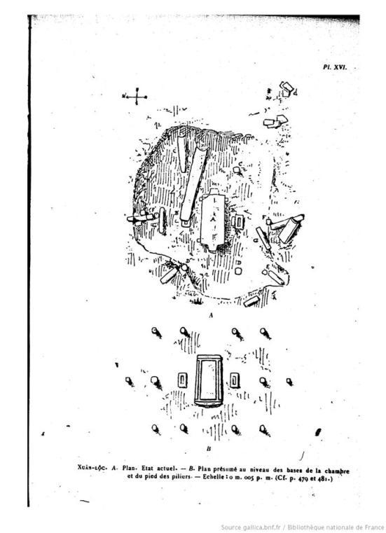 Hình 6 - Di chỉ cự thạch mộ đá lớn Hàng Gòn, Xuân Lộc (H. Parmentier) (5). Hình A, tình trạng thật sự ở di tích, B, vị trí suy diễn qua độ cao của đáy phòng và chân các cột.
