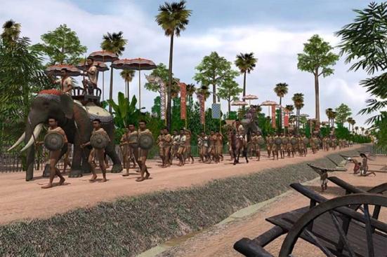 Một cảnh rước kiệu ở Angkor.
