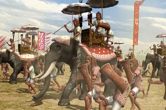 Quân Khmer khi lâm trận với voi và quân lính chạy theo hai bên tựa như ngày nay có thiết giáp và đơn vị bộ binh tùng thiết.