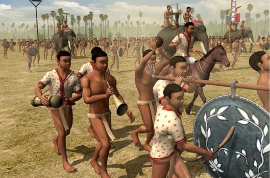 Đội quân nhạc gồm kèn, trống, phèn la để khích động tinh thần chiến đấu vừa uy hiếp tinh thần đối phương.