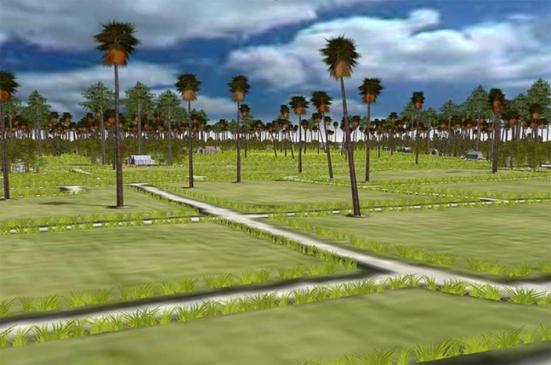 Vùng làng mạc của các nông dân ở chung quanh Angkor với hệ thống dẫn thủy chằng chịt khắp nơi.