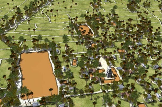 Các đơn vị làng xã luôn luôn có một hồ lớn để dân trong làng có thể ra đó tắm giặt chung, ngoài ra còn có một đền nhỏ xây bằng đá tiện cho việc cầu tự.