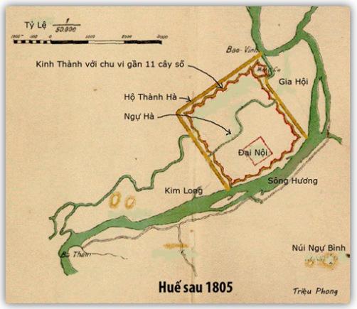 Sau 1805, sông Kim Long hầu như mất hẳn, còn chăng là đoạn biến thành Ngự Hà ở trong Thành Nội, còn sông Bạch Yến thì bị đứt đoạn khi tiếp xúc với Hộ Thành Hà, là đoạn sông đào chạy giáp quanh ba mặt Kinh Thành, ăn thông với sông Hương và Ngự Hà. (Hình: Triệu Phong)