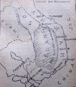 """Bản đồ Đông Dương do ông E Stanford vẽ năm 1889. """"Vương quốc Sédang"""" nằm trên cao nguyên Việt Nam và lấn sang Lào đến tận sông Mê Kông."""