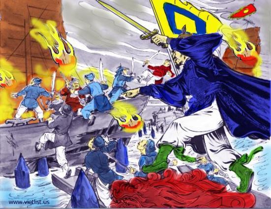 Hưng Đạo Vương giết giặc trên sông Bạch Đằng, năm 1288 - Tranh:  Vietlist.us