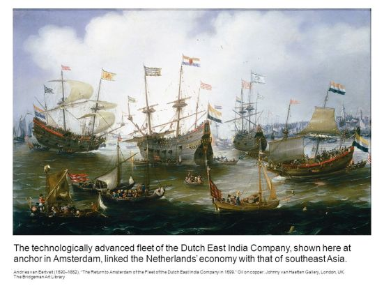The+technologically+advanced+fleet+of+the+Dutch+East+India+Company,+shown+here+at+anchor+in+Amsterdam,+linked+the+Netherlands_+economy+with+that+of+southeast+Asia.