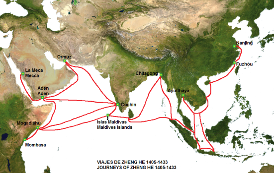 Z- The route of the voyages of Zheng He's fleet.
