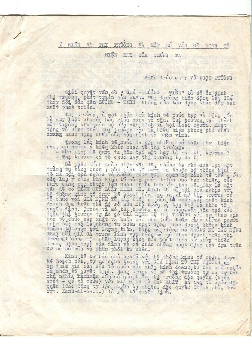 Bối cảnh lịch sử bài viết Ý kiến về Giá, Lương, Tiền của Vũ Ngọc Phương năm 1985